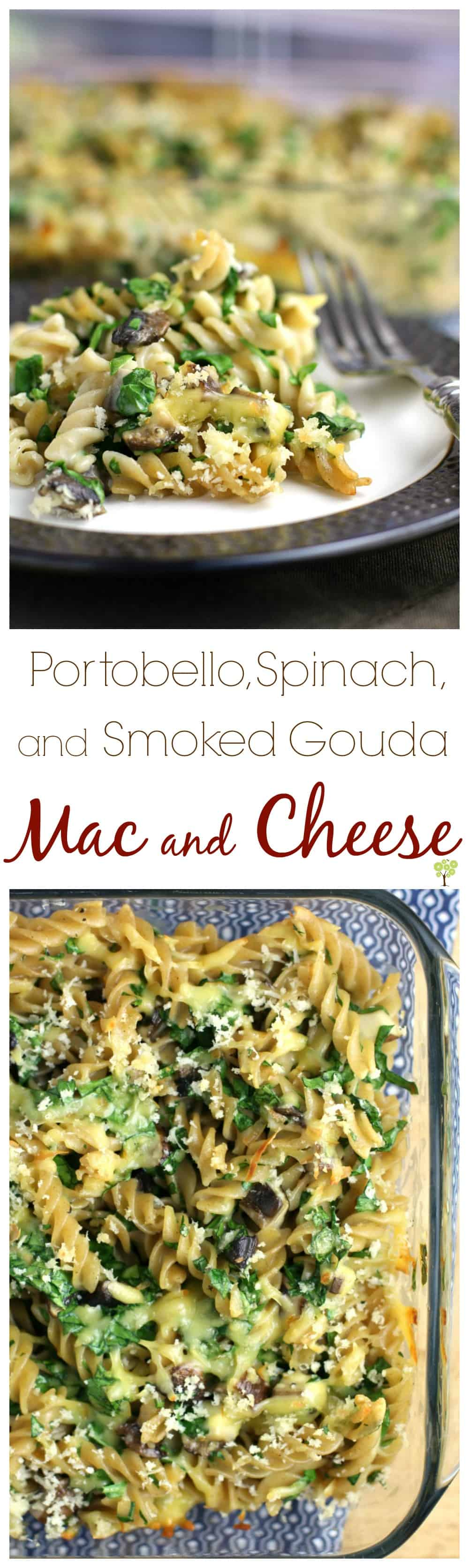 Portobello, Spinach, and Smoked Gouda Mac and Cheese from EricasRecipes.com