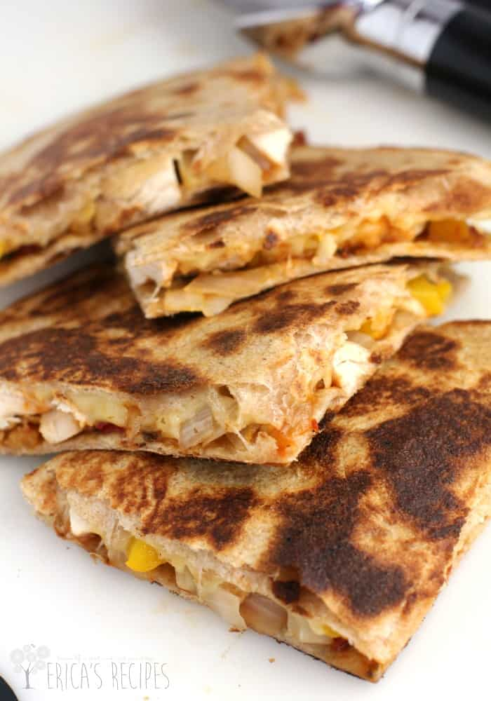 Chicken Tender Quesadilla with Sun-Dried Tomato Chutney from EricasRecipes.com