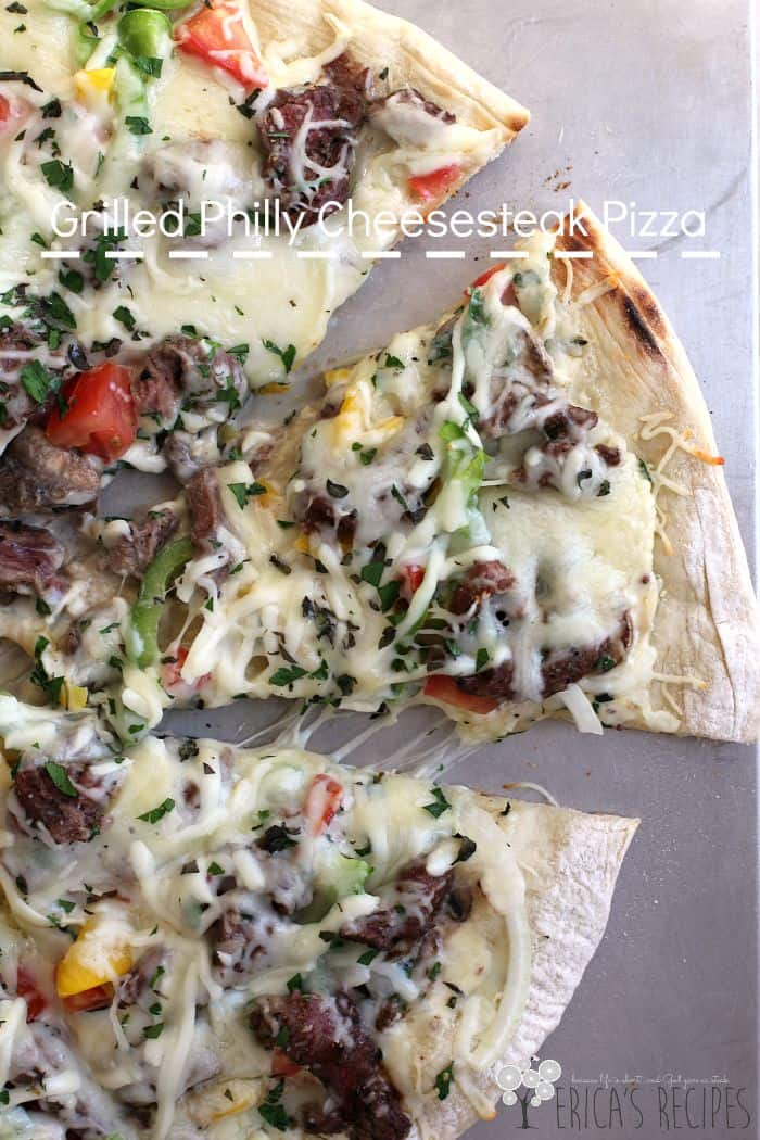 Grilled Philly Cheesesteak Pizza from EricasRecipes.com