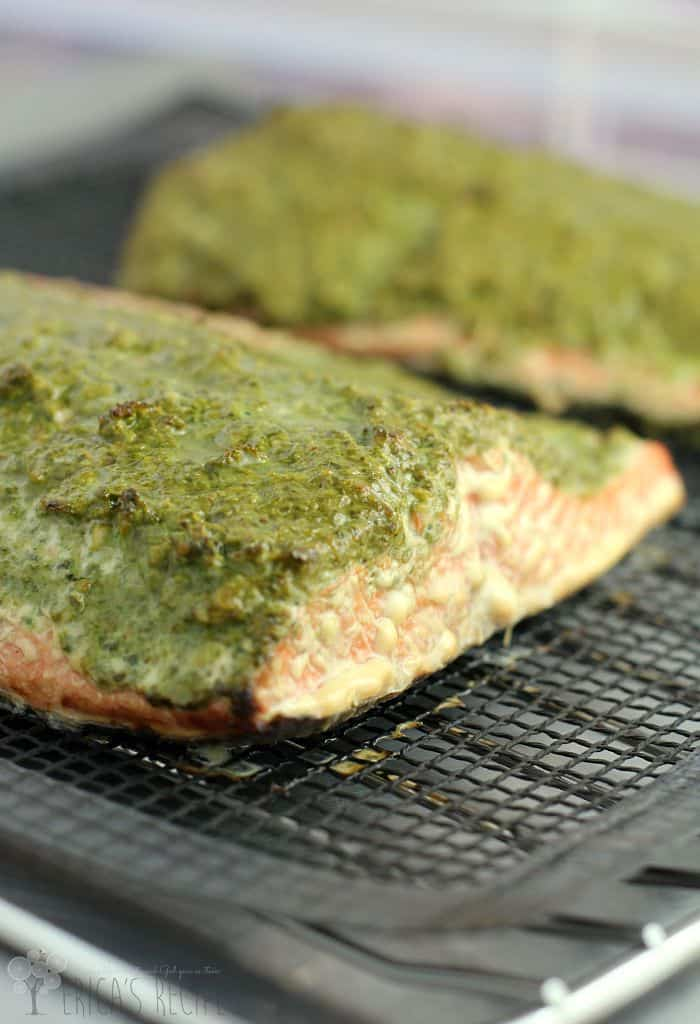 Smoked Sockeye Salmon with Arugula, Spinach, and Walnut Pesto from EricasRecipes.com