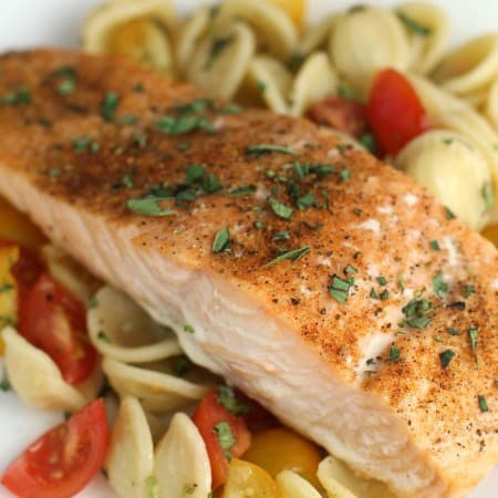 Easy Baked Salmon over Orecchiette with Raw Tomato Sauce from EricasRecipes.com