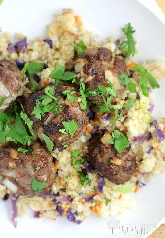 Asian Meatballs over Cauliflower Fried Rice from EricasRecipes.com