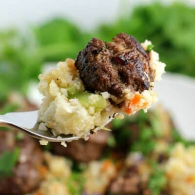 "Asian Meatballs over Cauliflower Fried ""Rice"""