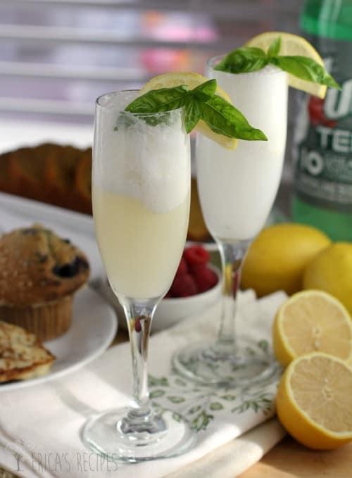 Lemon Basil Sherbet Mocktail (or Mimosa!)