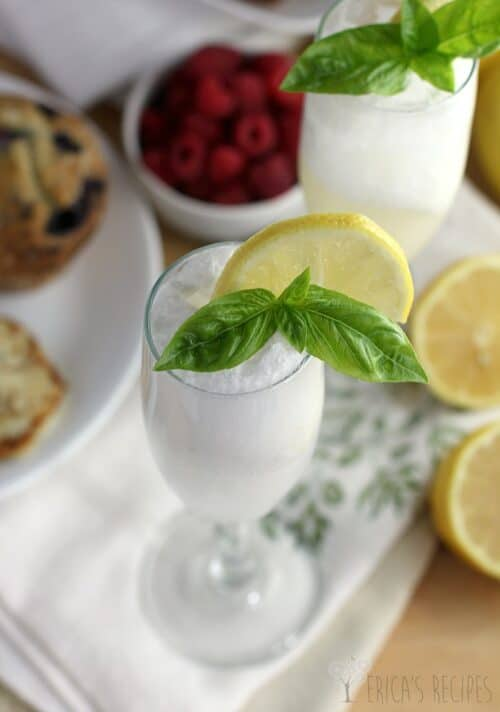 Lemon Basil Sherbet Mocktail (or Mimosa!)