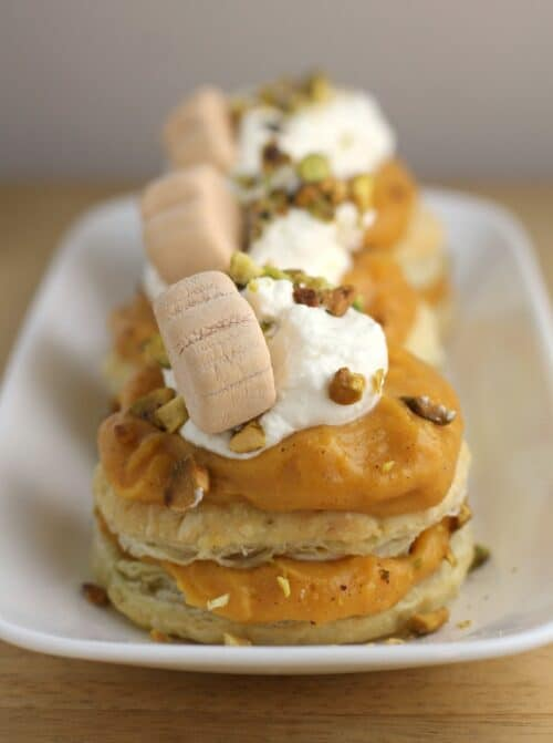 Pumpkin Pistachio Napoleon with White Chocolate Ganache from Ericasrecipes.com