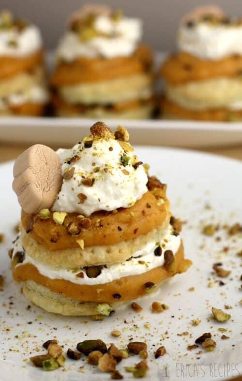 Pumpkin Pistachio Napoleon with White Chocolate Ganache from Ericasrecipes.com