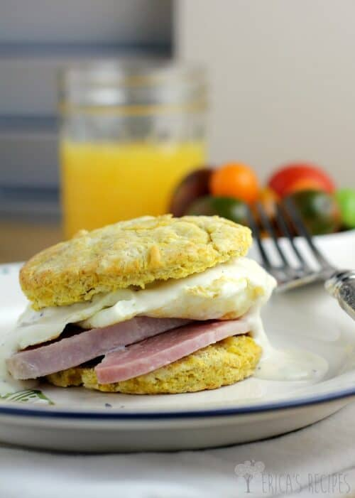 Ham, Egg, and Dijon Gravy over Butternut Squash Biscuits