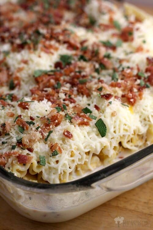 Bacon, Sage, and Butternut Squash Lasagna Rolls from EricasRecipes.com