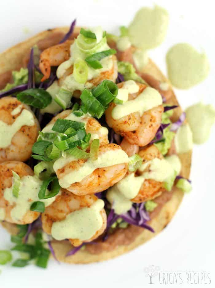 Shrimp Chalupas with Roast Poblano Sauce from EricasRecipes.com