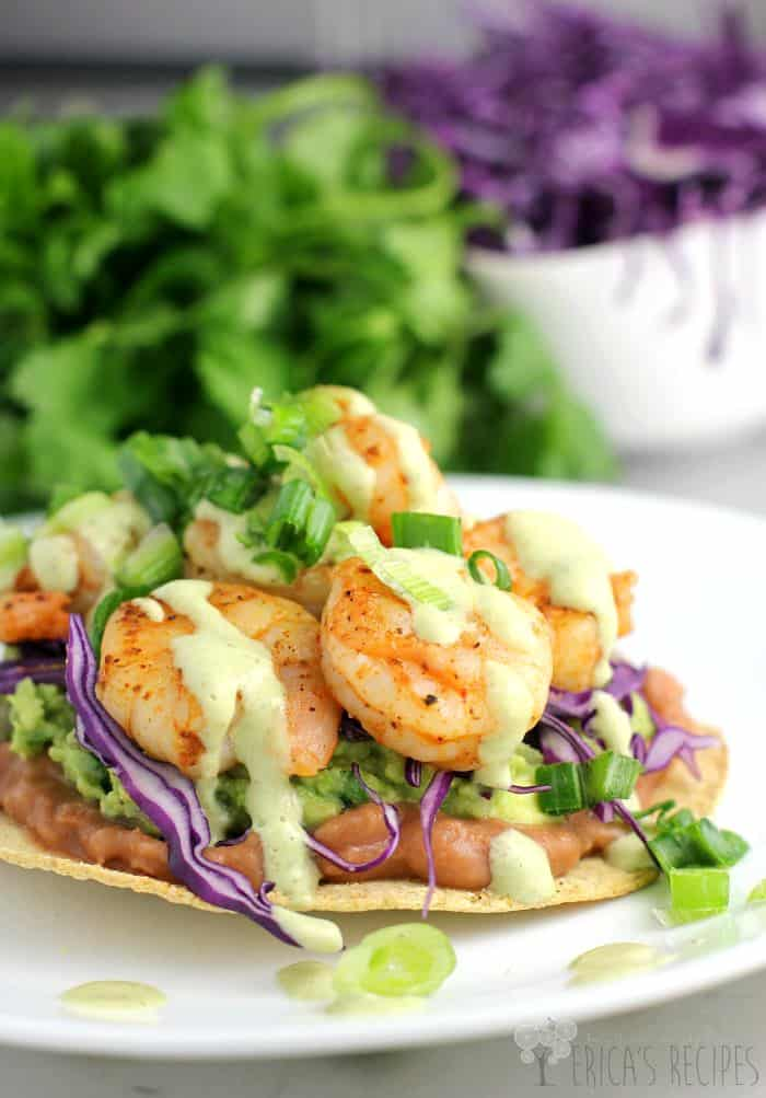 Shrimp Chalupas with Roast Poblano Sauce from EricasRecipes.com