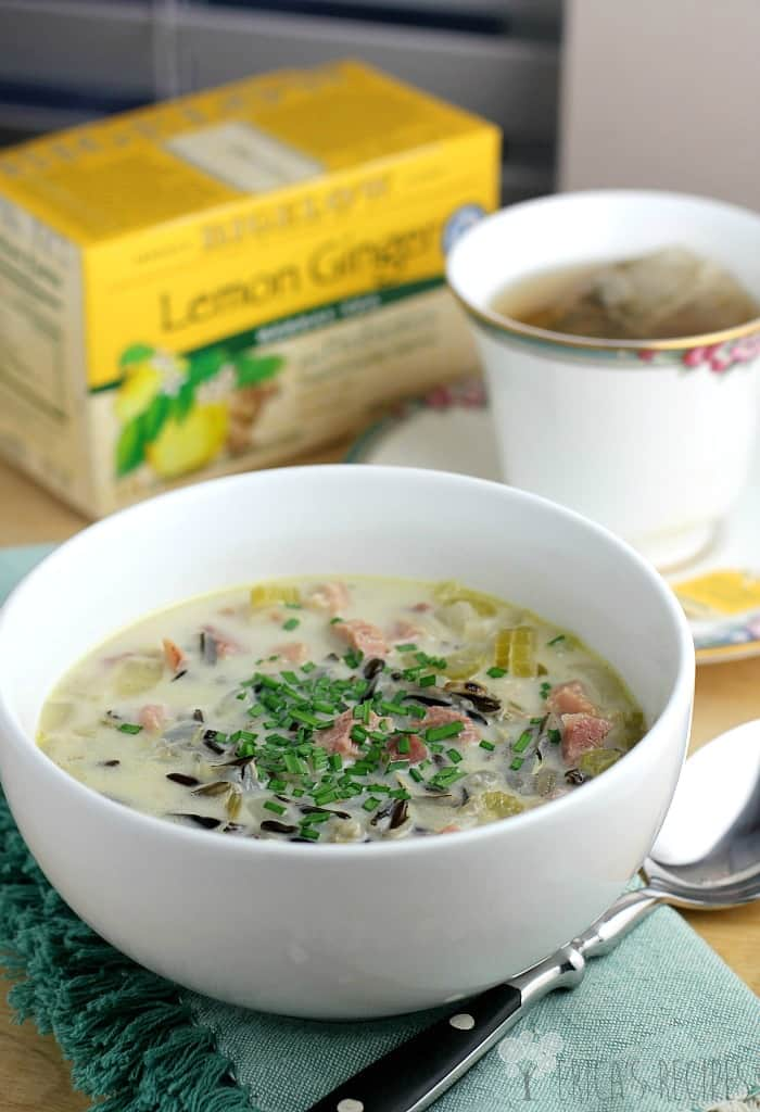 Soothing Lemon Ginger Ham and Wild Rice Soup