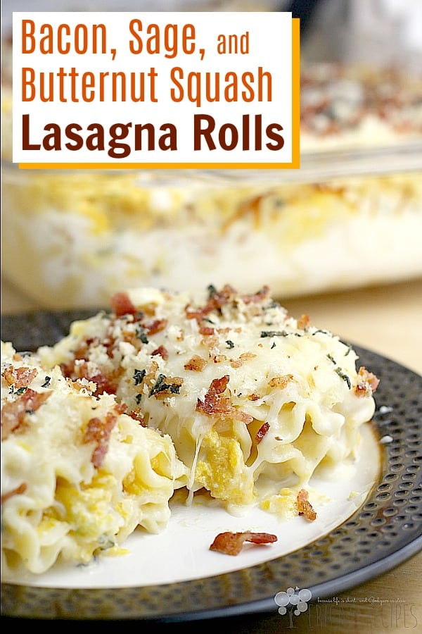 Delicious rolls of tender pasta, filled with a luxurious squash filling, baked in bechamel, loaded with cheese, and topped with the tastiest crunchy bacon topping ever. Bacon, Sage, and Butternut Squash Lasagna Rolls are worthy of every special occasion, dinner guest, holiday celebration, or just because. #food #recipe #fall #butternutsquash #lasagna #bacon #cheese