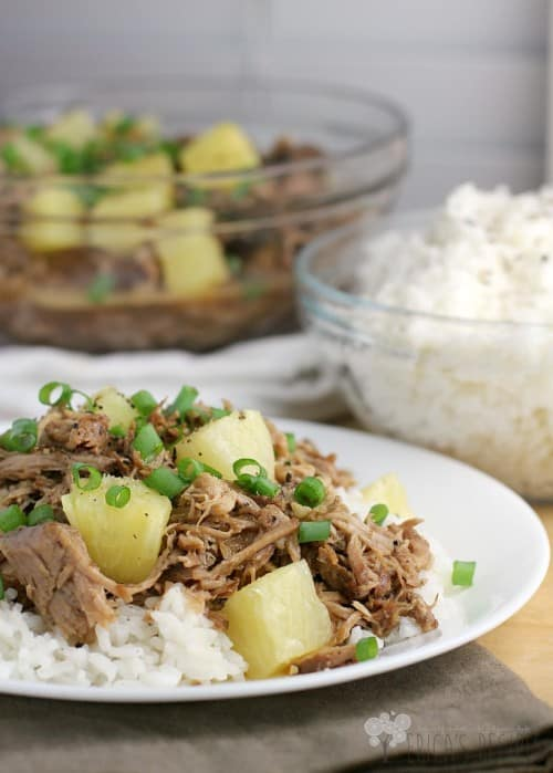 Pineapple Pulled Pork over Coconut Rice from EricasRecipes.com