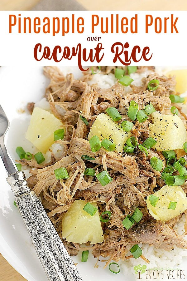 Tender pulled pork, cooked slowly to perfection in the crock-pot with Asian flavors and sweet pineapple, then served over quick and flavorful coconut rice. Let this very easy Pineapple Pulled Pork over Coconut Rice dinner take some of the stress out of your busy weeknight hell. #slowcooker #pulled pork #recipe #food #dinner #pineapplepork #coconutrice #crockpot