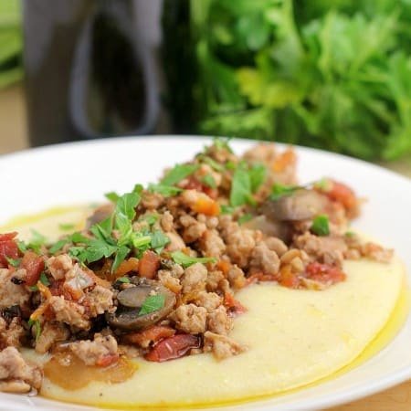 Turkey Bolognese over Smoked Gouda Grits {A Freezer-to-Crockpot Meal}
