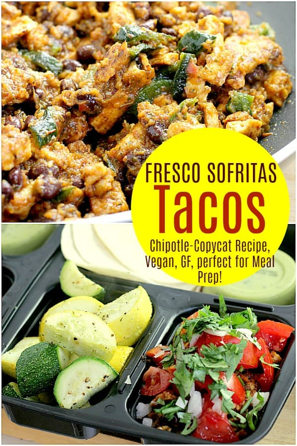 This restaurant-inspired, make-ahead Vegan Fresco Sofritas Tacos lunch uses tofu as the blank canvas, then yumms it all up with an amazing sauce with roasted tomatoes and poblano pepper. The depth of flavor will satisfy you all week at lunch, in the vegan, dairy-free, gluten-free, cruelty-free, healthiest way. #food #vegan #vegetarian #mealprep #lunch #healthy #glutefree #dairyfree #copycat