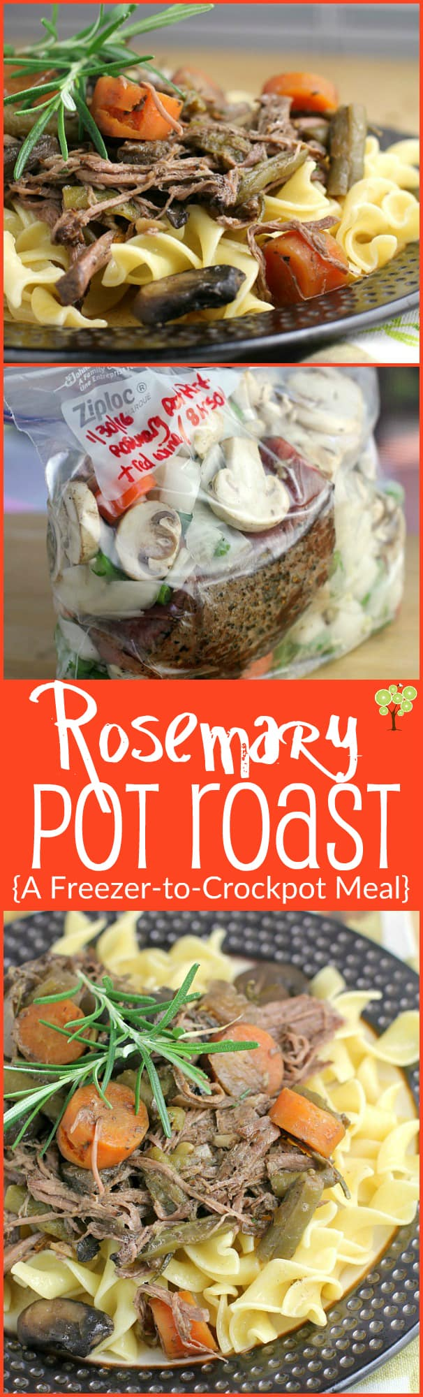 Rosemary Pot Roast {A ridiculously easy Freezer-to-Crockpot Meal}