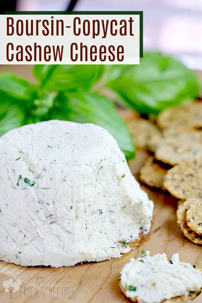 Boursin-Copycat Cashew Cheese. Raw cashews, with plenty of garlic and herb, are magically transformed in this vegan cashew cheese recipe that is so reminiscent of actual Boursin cheese. Serve this at your next party and see if they notice that there is no dairy! #recipe #food #vegan #vegetarian #copycatrecipe
