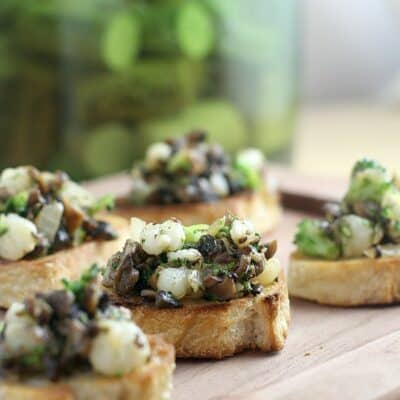 Winter Crostini with Mushrooms, Broccoli, and Hominy