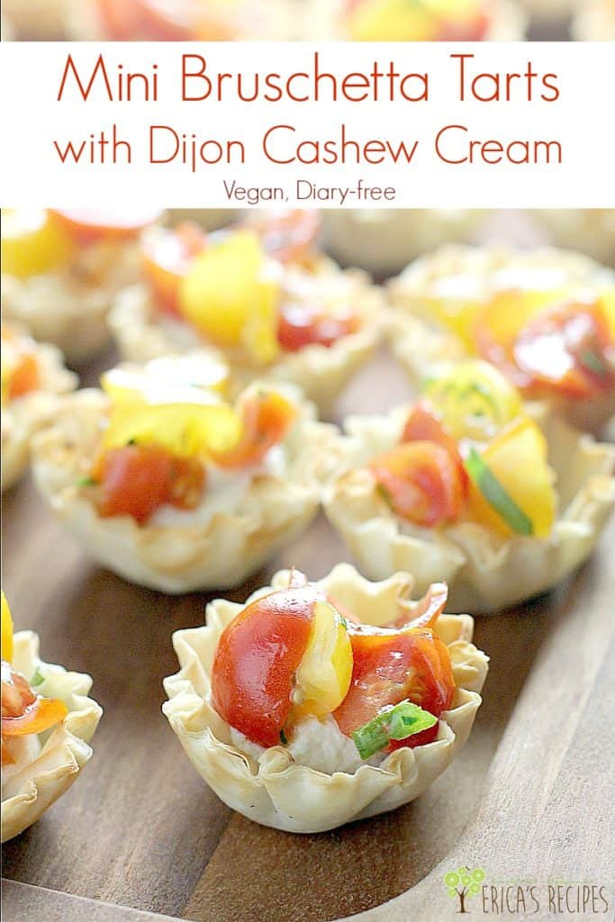 Mini Bruschetta Tarts with Dijon Cashew Cream #appetizer #vegan #vegetarian #food #recipe #partyfood #dairyfree