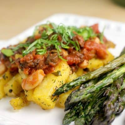 Quick Bolognese over Polenta Fries