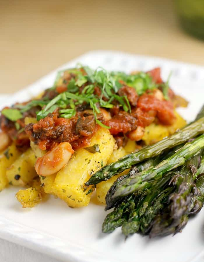 Quick Bolognese over Polenta Fries
