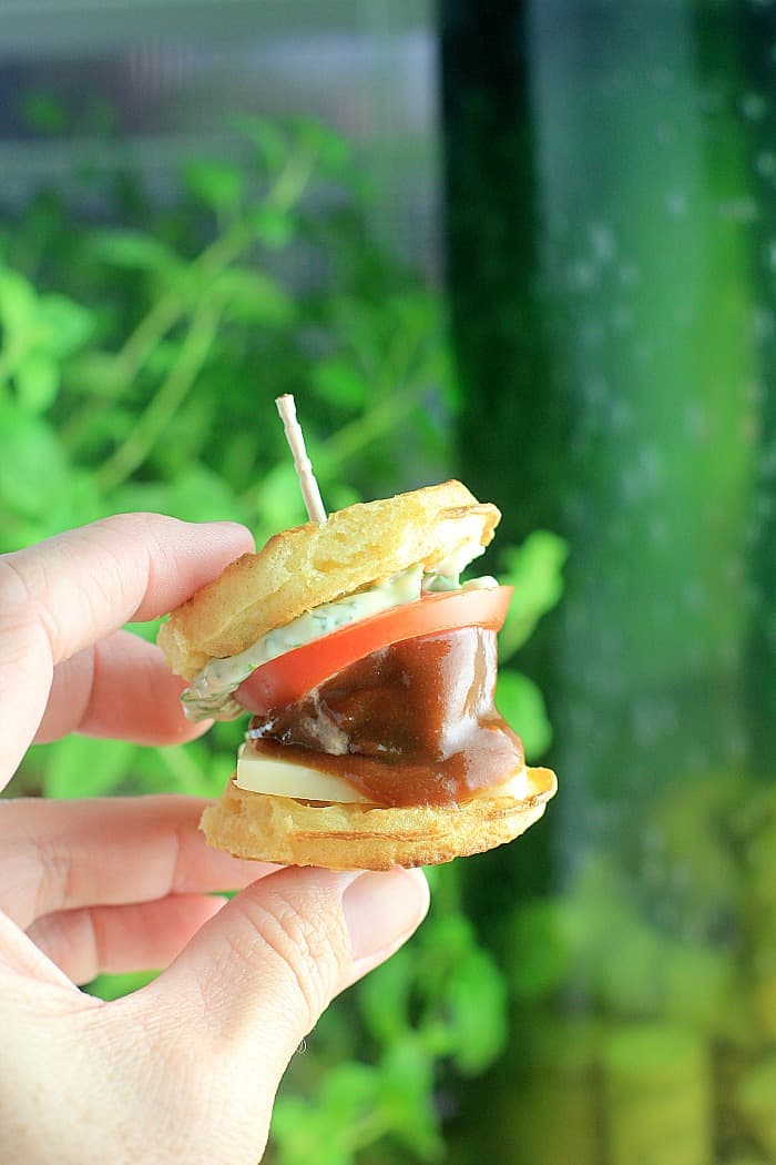 hand holding up a waffle slider