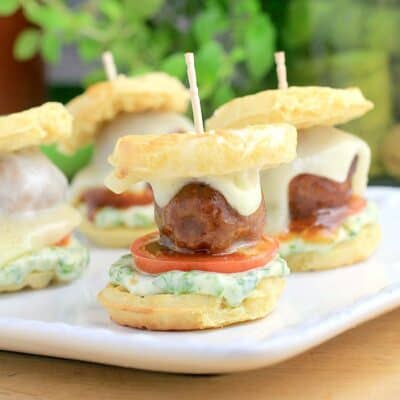 Barbecue Meatball Waffle Sliders