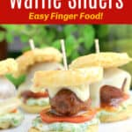 image for pinterest with text overlay of recipe title Barbecue Meatball Waffle Sliders