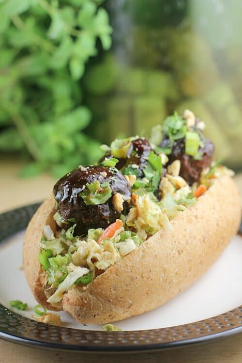 Thai Chili Meatball Sliders with Peanut Slaw http://wp.me/p4qC4h-3Di