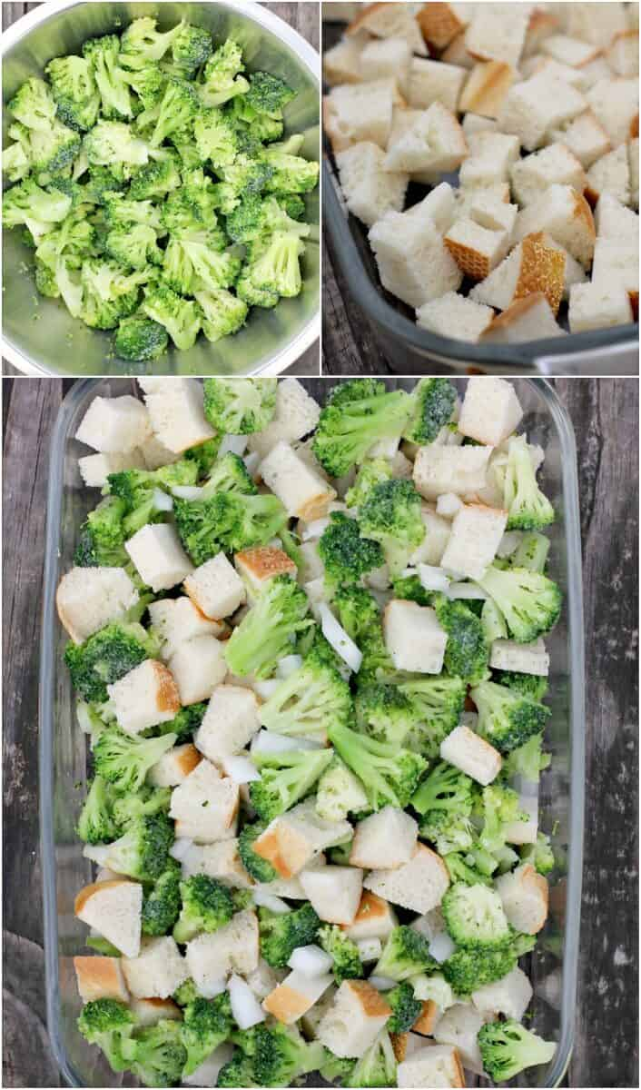 collage of 3 photos: top left, chopped broccoli in metal bowl; top right, bread cubes in pyrex dish; bottom; broccoli, bread cubes, and onion in pyrex dish
