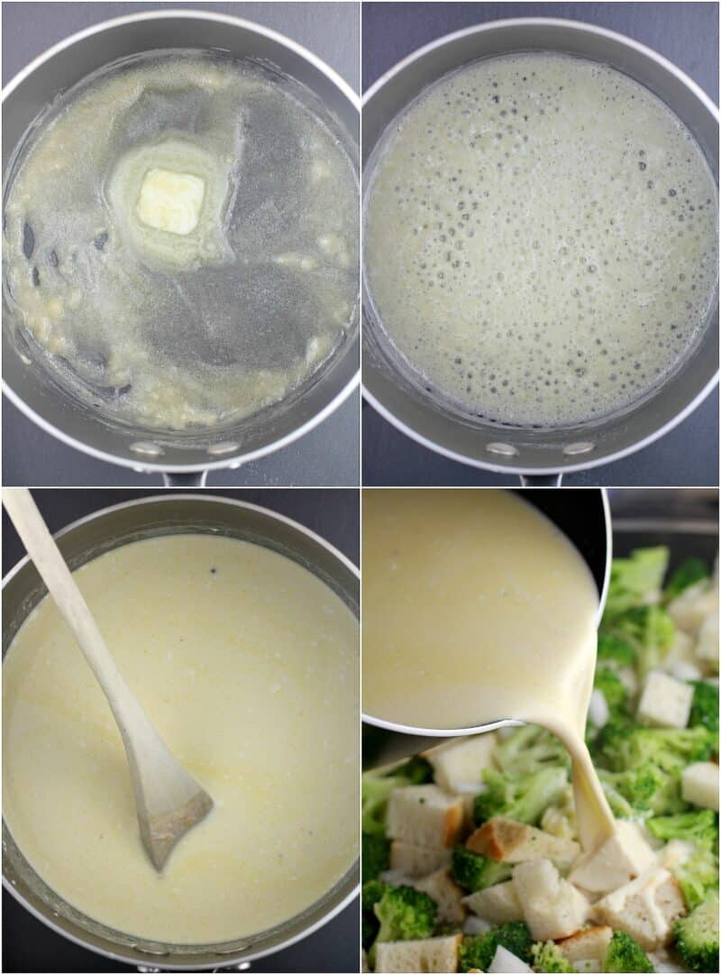 collage of 4 photos: top left, butter and flour in saucepan; top right, roux; bottom left, cheese sauce in saucepan with wood spoon; bottom right, cheese sauce being poured over broccoli and bread