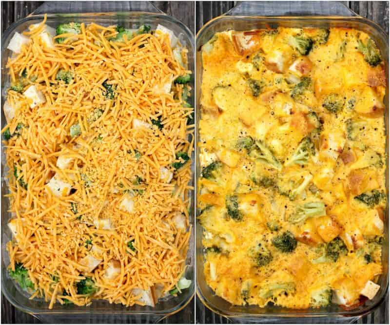 collage of 2 photos: left, assembled casserole; right, baked casserole. Both have weathered wood backgrounds.