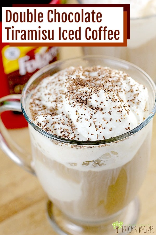 Double Chocolate Tiramisu Iced Coffee. Robust iced coffee, poured over coffee ice cream and topped with a decadent white chocolate mascarpone cream. Finish with milk chocolate sprinkled on top and you have a cool, dreamy, inspired tiramisu recipe to savor.