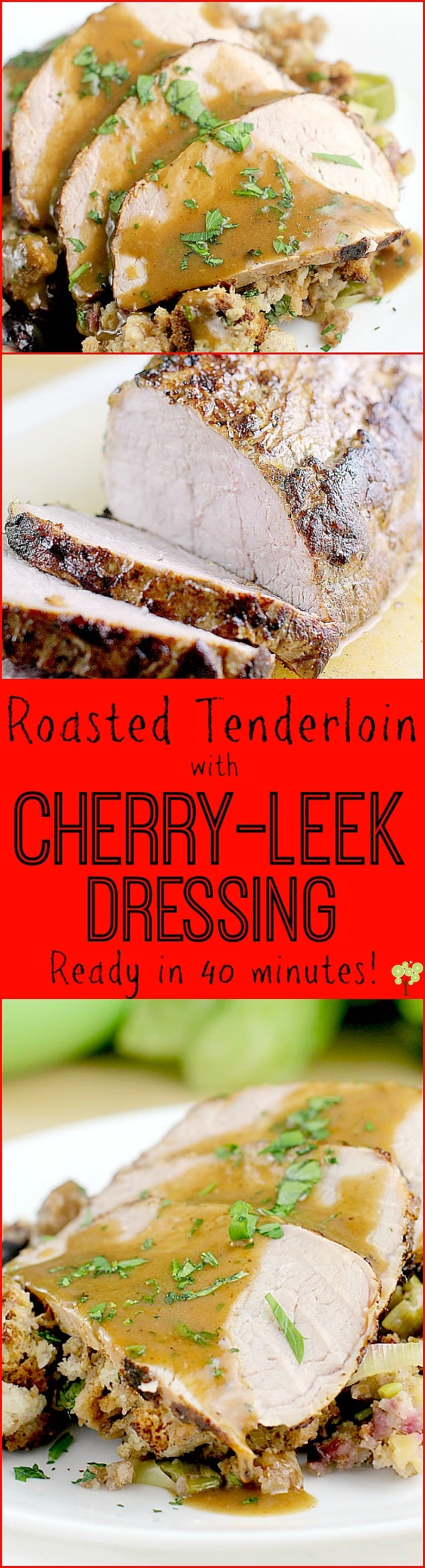Roasted Tenderloin with Cherry-Leek Dressing http://wp.me/p4qC4h-3Hd #RealFlavorRealFast #ad