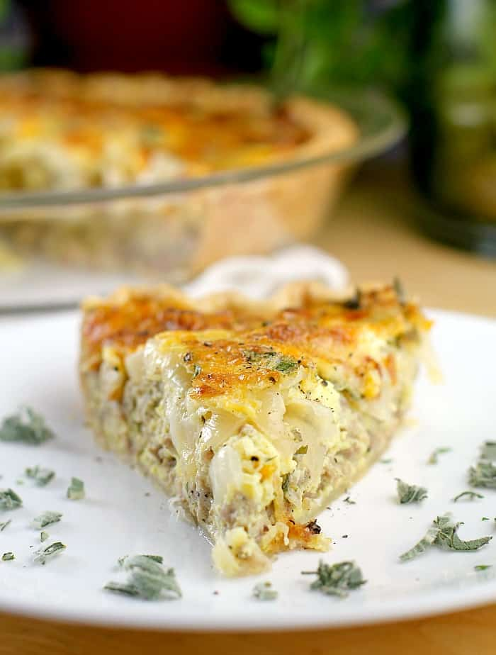 Caramelized Onion and Sausage Quiche