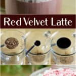 long collage image for sharing on pinterest with multiple photos and text overlay recipe title Red Velvet Latte