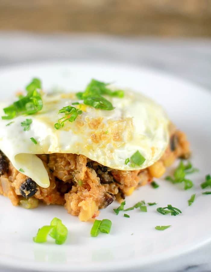 egg on top of tamale casserole on plate
