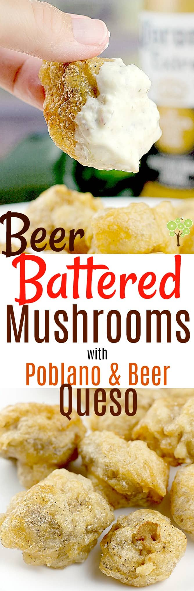 Msg 4 21+ Beer-Battered Mushrooms with Poblano & Beer Queso #SummertimeCerveza #ad @coronaextrausa