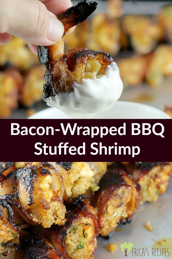 Huge shrimp stuffed with a classic RITZ cracker seafood stuffing, wrapped in bacon, doused in Chipotle Dr Pepper BBQ sauce, and grilled over coals for an epic bite that will win all the parties. #shrimp #footballfood #superbowl #seafood #tailgate #grill #grillrecipes #partyfood