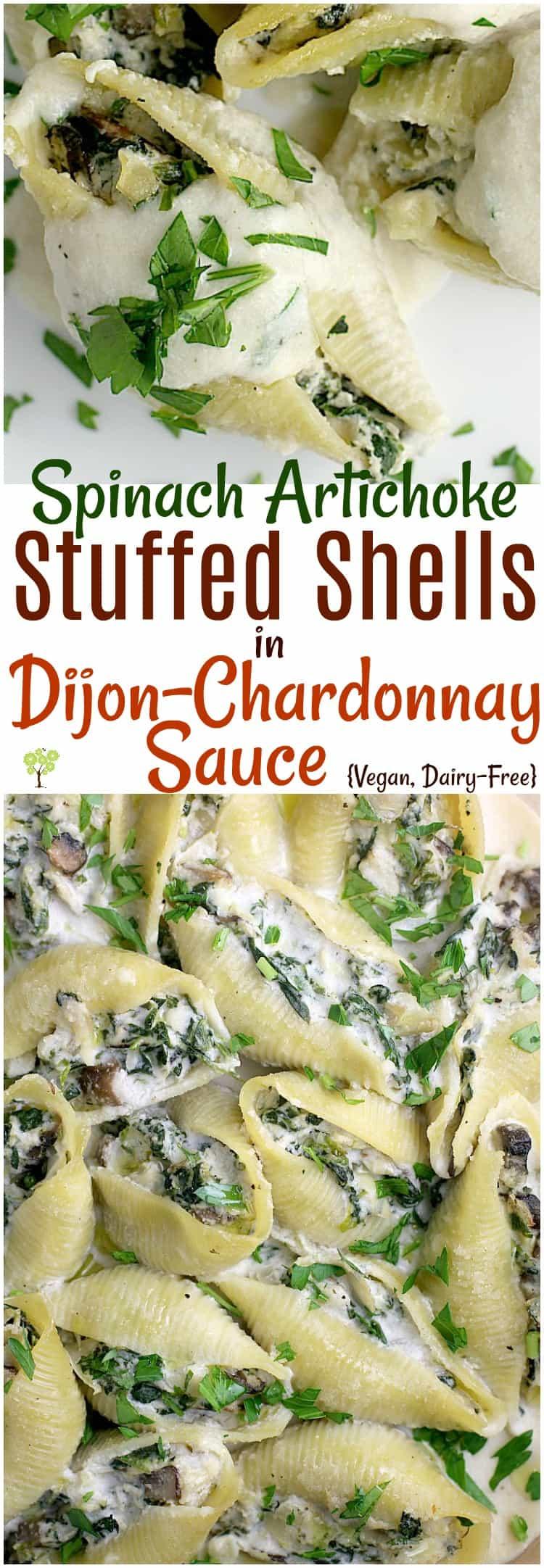 Spinach Artichoke Stuffed Shells in Dijon-Chardonnay Sauce