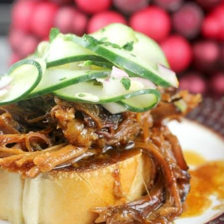 Hoisin Honey Pulled Pork with Pickled Cucumber Salad #DonVictorHoney #HoneyForHolidays #ad
