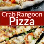 composite image for pinterest sharing: photos of pizza top and bottom; text of recipe title Crab Rangoon Pizza in center