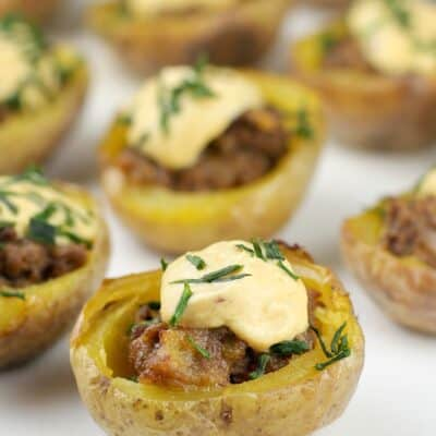 mini potato skins on white dish