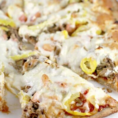 Mediterranean Pulled Pork Pizza