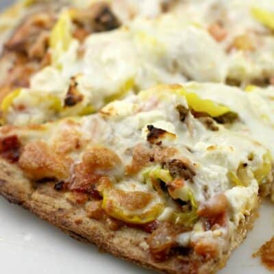 Mediterranean Pulled Pork Pizza