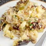 Pulled Pork Macaroni and Cheese with Crispy Bacon and Herb Topping