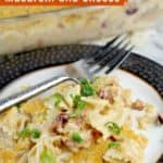 pin image with text overlay Cranberry Chorizo Macaroni and Cheese