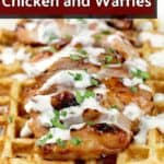 pin image with text overlay Honey Beer BBQ Chicken and Waffles